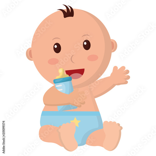 baby boy with diaper and bottle milk in hand vector illustration design