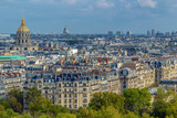 Aerial view of Paris, France, with buildings, roofs and Dome des Invalides - 201100183