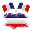 french flag national grunge and two cross flags vector illustration