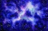 Watercolor Blue Nebula and Outer Space - 201102901