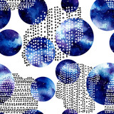 Seamless Pattern of Watercolor Blue Nebula in Circles - 201102927