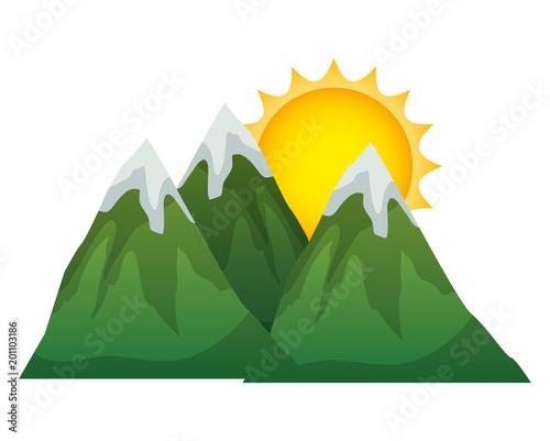 Aluminium Wit mountains with snow scene vector illustration design