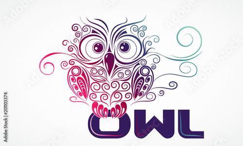 Fotobehang Uilen cartoon Owl with letters