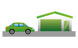 garage building facade with car vector illustration design - 201103545