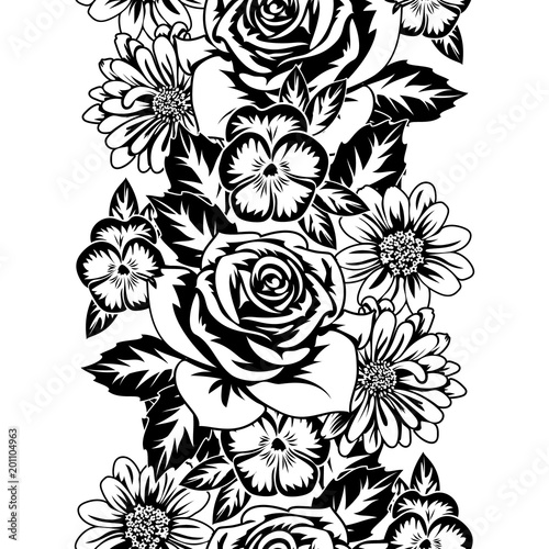 seamless monochrome pattern of flowers for greeting cards, background, price tags - 201104963
