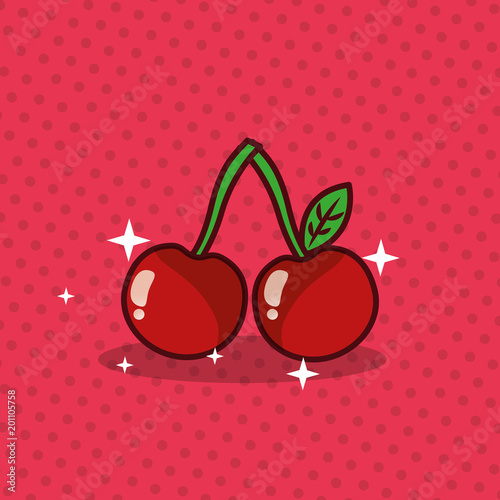 cherry nutrition diet fresh image vector illustration