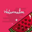 watermelon fruit delicious shiny poster vector illustration