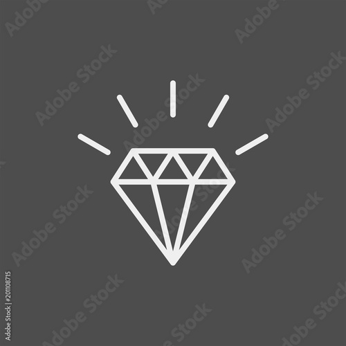 Ikona płaski diament wektor