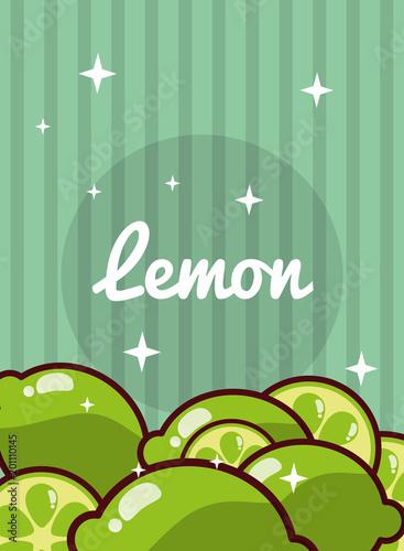 striped bright background fresh natural fruits lemon vector illustration - 201110145