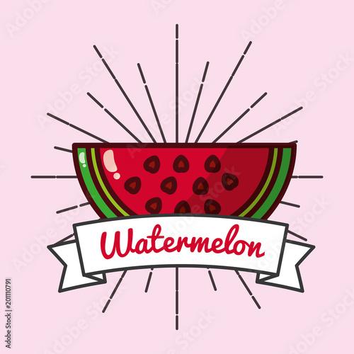 slice watermelon fruit organic vitamins emblem vector illustration