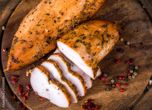 Smoked chicken fillet, meat delicacy