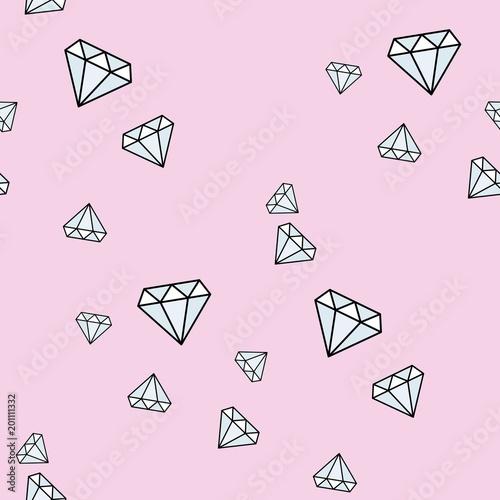 Cartoon diamond vector seamless pattern geometric abstract texture modern background