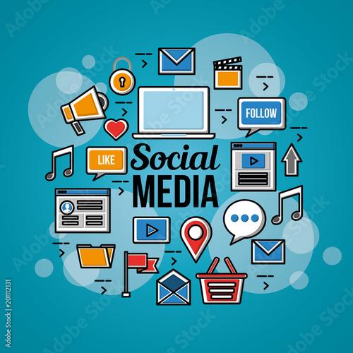 ludzie mediów społecznościowych bańka niebieskie tło ikony wiele narzędzi wektorowych czerwony ilustracja