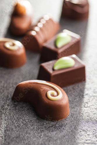 Sticker Mixed belgian pralines. Chocolate truffles.