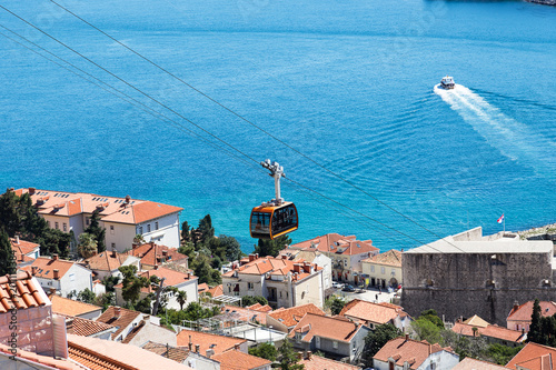 Tourists in the Dubrovnik cable car