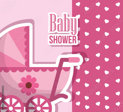 happy baby shower pink pram with flower hearts born background vector illustration