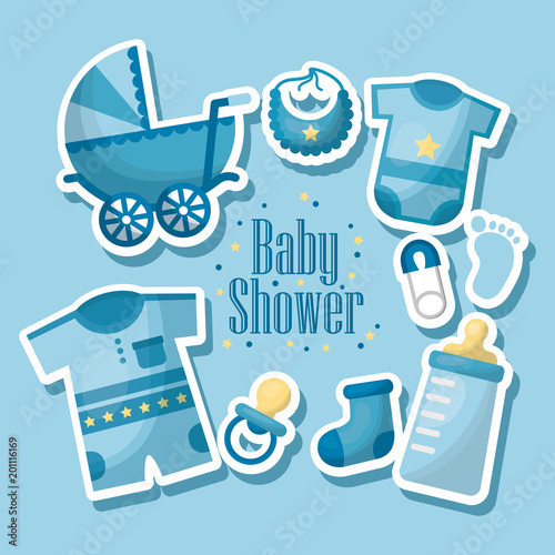 happy baby shower born boy celebration blue clothes bib baby pacifier  pram  toe sock vector illustration