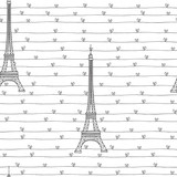 Eiffel Tower and hearts.  Seamless romantic pattern on a white background. Vector illustration.