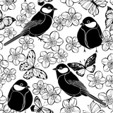 Seamless pattern with birds, butterflies and cherry blossoms on a white background. Black and white vector illustration. - 201117791