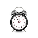 Vector realistic 3d illustration of black alarm clock, isolated on white background. Five minutes to twelve o'clock. - 201118945