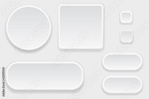 Białe puste przyciski. Zestaw elementów interfejsu
