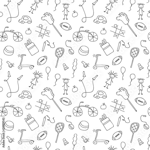 obraz lub plakat Seamless pattern for little boys and girls. Sketch style. Hand drawn children drawings. Doodle children drawing background. Vector illustration.
