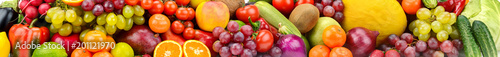 Panoramic photo healthy vegetables, fruits and berries.