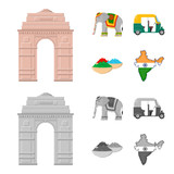 Country India cartoon,monochrome icons in set collection for design.India and landmark vector symbol stock web illustration. - 201128748