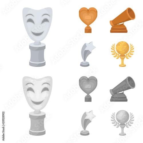 Biały maska mime dla najlepszego dramatu, nagroda w postaci serca i innych nagród. Film nagrody zestaw ikon kolekcji w kreskówka, monochromatyczne styl wektor symbol ilustracji www.