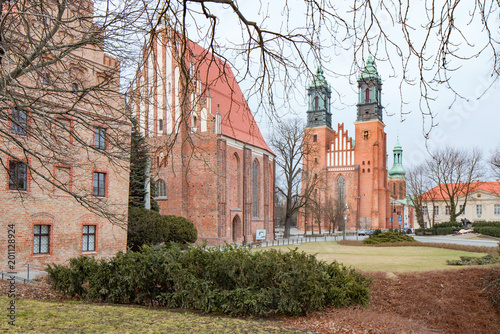 Cathedral in Poznan, on the island Ostrow Tumski between the Cybina and Warta river, Poland.