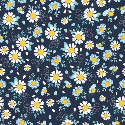 Black White Daisies Ditsy Seamless Pattern Great For Summer Vintage Fabric Scrapbooking Wallpaper