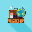 Travel around the world and vacation time flat design