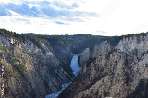 Aluminium Wit Roaring waterfall, Yellowstone National Park, Grand Canyon of the Yellowstone, Lower Falls, Wyoming