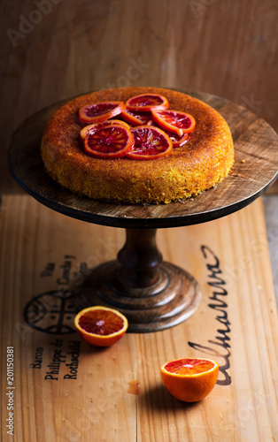Foto Murales Blood Orange  Polenta Cake.selective focus