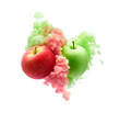 Red and green apples on ink isolated - 201152557