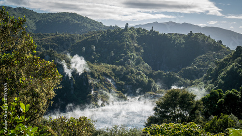 Waimangu Volcanic Rift Valley in Rotorua region, Frying pan lake, North Island of New Zealand