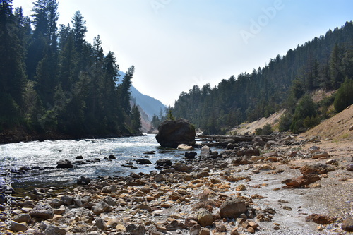 Foto Murales Yellowstone River, Canyon Landscape, Running Water, Background