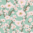 Seamless pattern with pink flowering branches - 201156373