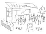 Street cafe graphic black white sketch exterior illustration vector - 201158717