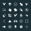 Modern Simple Set of arrows, cursors, design Vector fill Icons. ..Contains such Icons as  technology,  click, arrow,  left,  right,  sign and more on dark background. Fully Editable. Pixel Perfect.