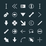 Modern Simple Set of arrows, cursors, design Vector fill Icons. ..Contains such Icons as arrow,  design,  previous,  symbol,  double,  mouse and more on dark background. Fully Editable. Pixel Perfect. - 201159354