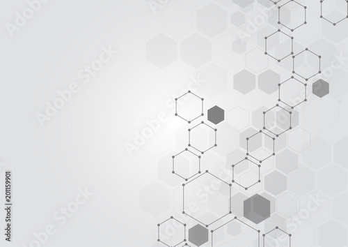 Abstract hexagonal molecular structures in technology background and science style. Medical design. Vector illustration - 201159901