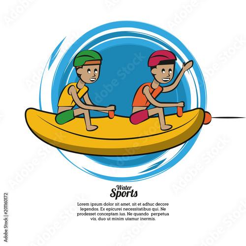 Wodne sport kreskówki bananowej łodzi wektorowy ilustracyjny graficzny projekt