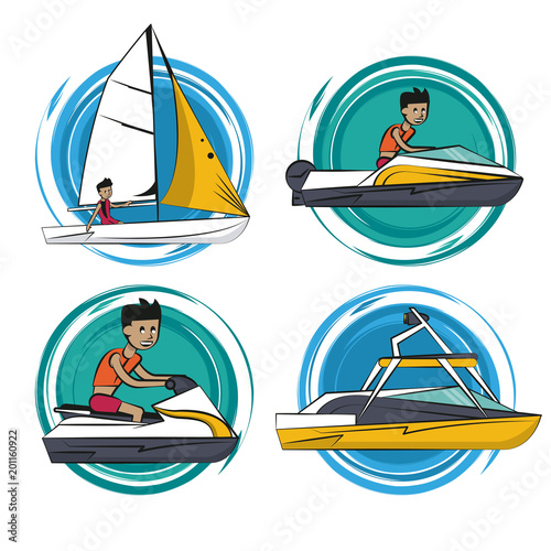 Water sports cartoons collection vector illustration graphic design