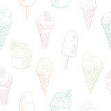 Ice cream graphic color sweet food seamless pattern background sketch illustration vector - 201163109