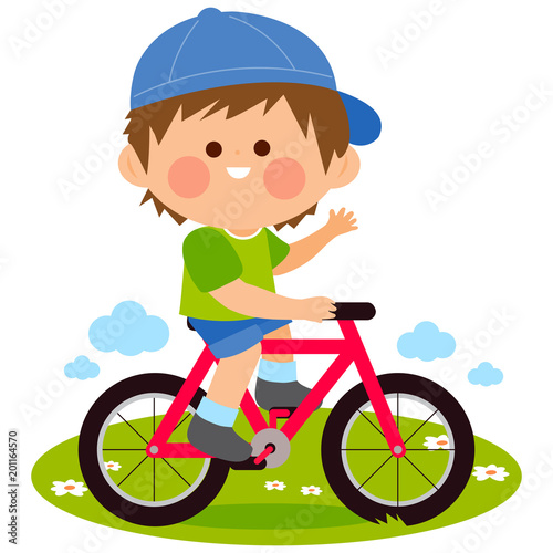 Happy little boy riding a bicycle at the park. Vector illustration - 201164570
