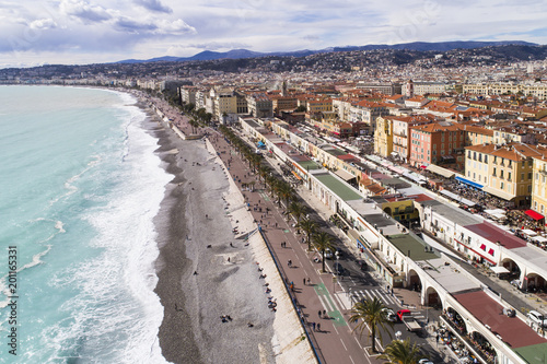 Fotobehang Nice Nice, France, Aerial view of promenade des Anglais, Cote d'Azur;