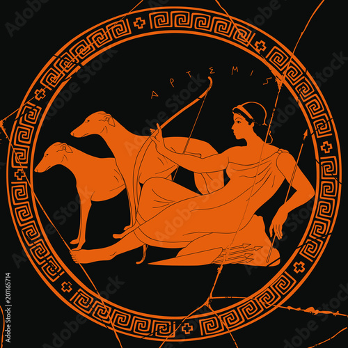 Ancient Greek Goddess Artemis With A Bow And Arrows Is In The Tunic