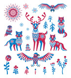 Arctic animals and plants set in ethnic style. Colorful vector illustrations isolated on a white background.
