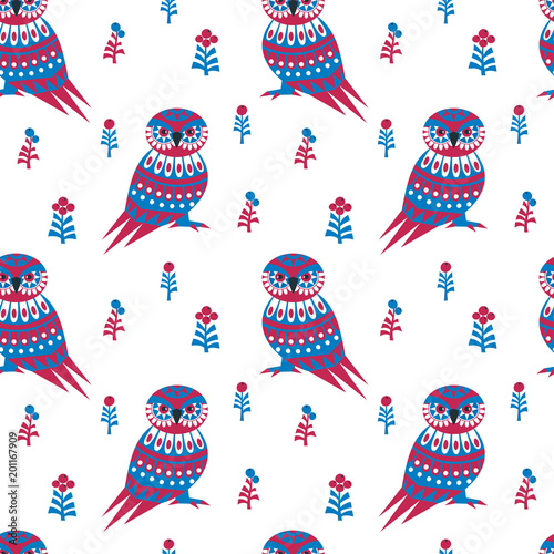 Decorative seamless pattern in ethnic style with owl. Colorful vector background.